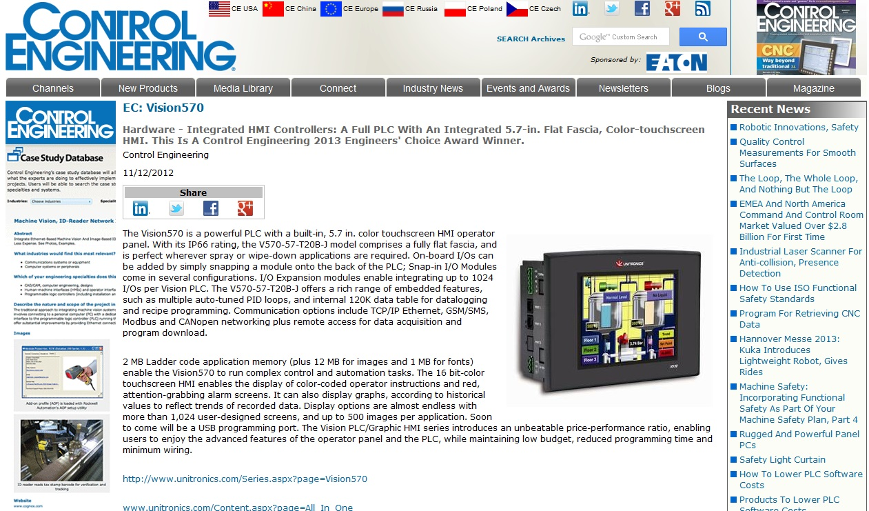 Hardware - Integrated HMI controllers: A full PLC with an integrated 5.7-in. flat fascia, color-touchscreen HMI. This is a Control Engineering 2013 Engineers' Choice Award winner.